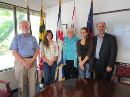 Rockville Mayor Phyllis Marcuccio (center), Montgomery College students Gina Francesca Suarez (left) and Virginia Bezerra de Menezes (right), Montgomery College Prof. Alonzo Smith (far left), and David Smith, Chair of the Rockville Human Rights Commission (far right) (Photo courtesy: City of Rockville, MD)