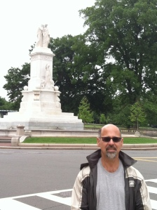 In front of the Peace Monument