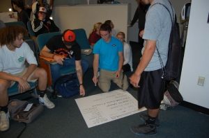 Students working on their social justice action plan