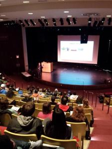 Speaking to about 150 students at Waubonsee Community College