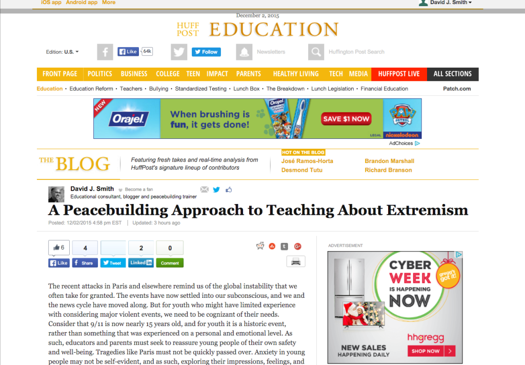 A Peacebuilding Approach to Teaching About Extremism   David J. Smith