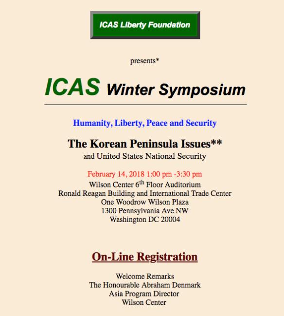 ICAS Winter Symposium: Korean Peninsula Issues and U S