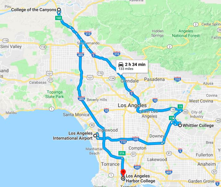 Whittier College Map LA Area Road Trip: Whittier College, College of the Canyons, Los  Whittier College Map