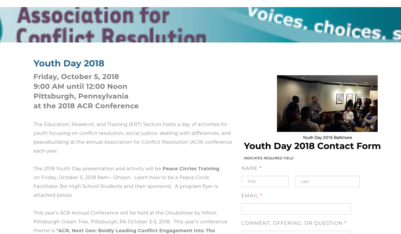 ACR Announces Youth Day, Pittsburgh, PA, 10/5/18 | David J